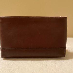BNWOT Brown leather coach makeup bag